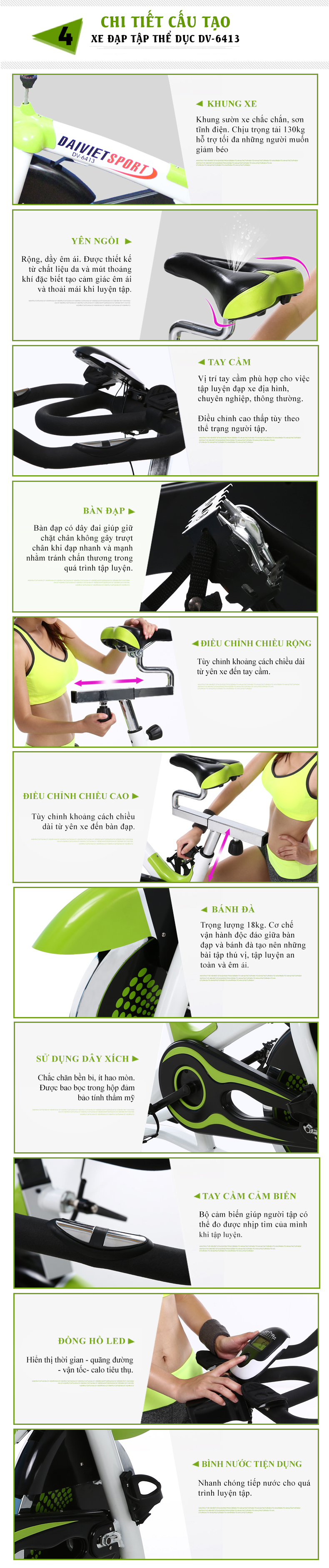 Chi tiết xe đạp tập gym DV-6413