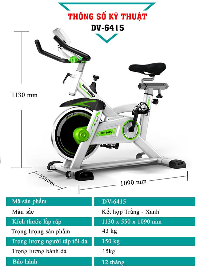 kích thước xe đạp tập thể dục DV-6415