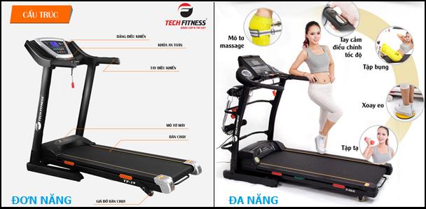 Máy chạy bộ tech fitness đơn năng và đa năng