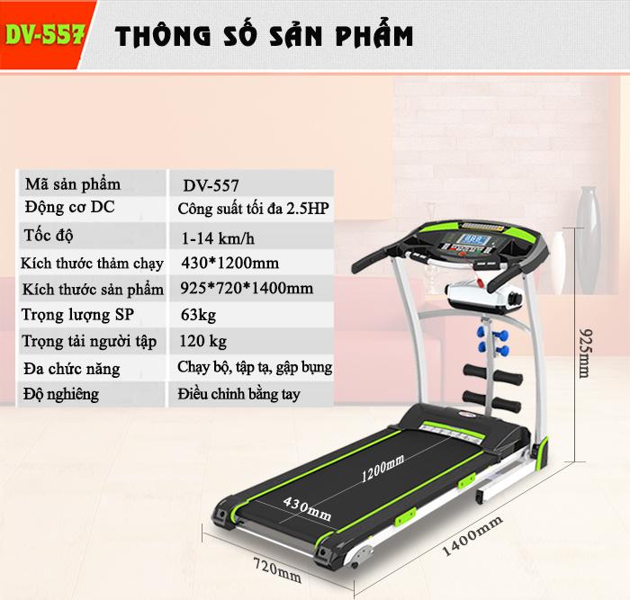 thông số máy chạy bộ đa năng Đại Việt DV-557