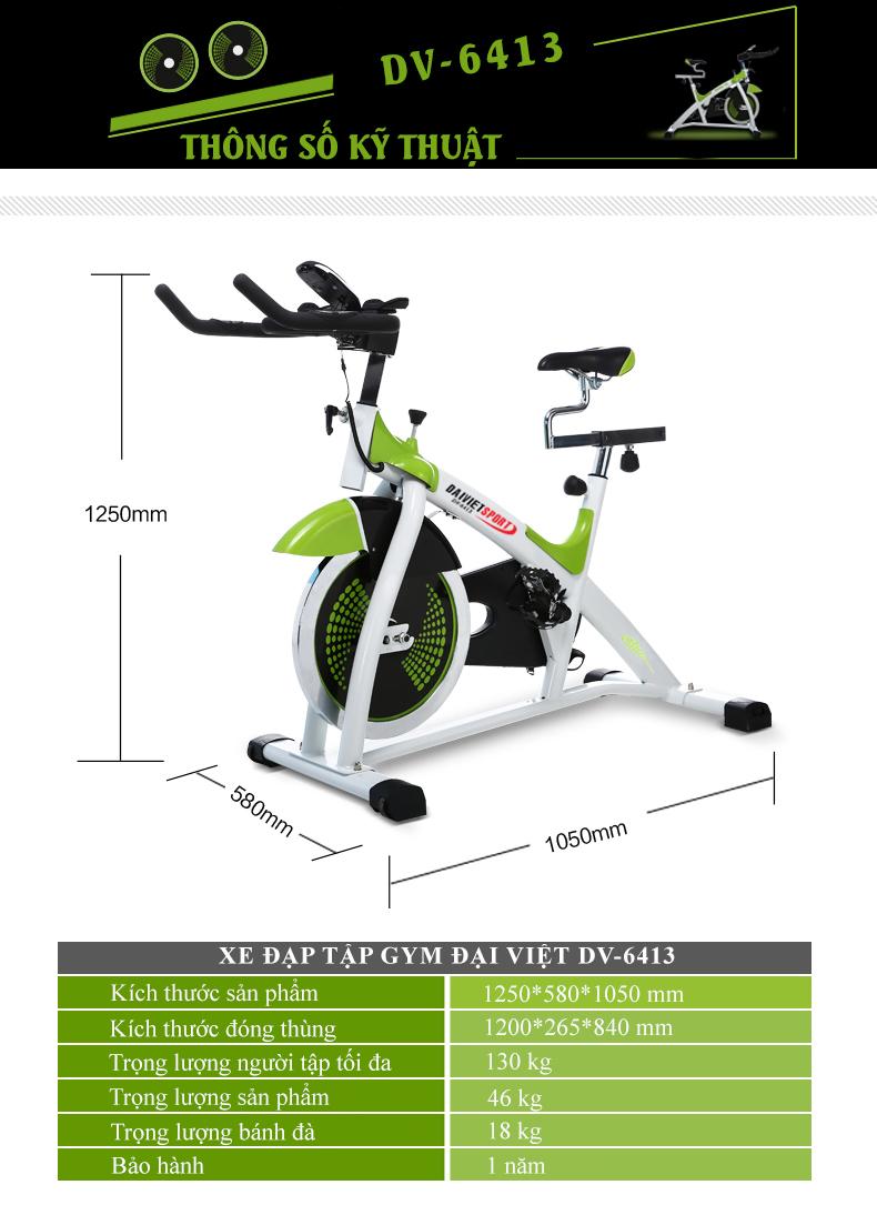 Thông số xe đạp tập gym DV-6413