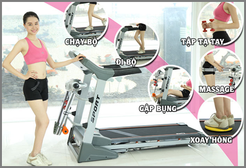 Máy chạy bộ điện đa năng mang rất nhiều các bài tập khác nhau cho cơ thể